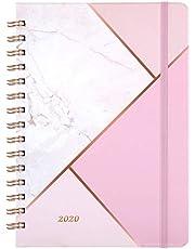 Kalender 2020 - A5 Wochenplaner mit monatlichen Registerkarten, 15x21cm Lebensplaner,Pink