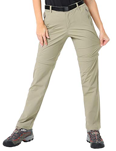 MIER Women's Quick Dry Convertible Cargo Pants Lightweight Stretchy Hiking Pants, 5 Zipper Pockets, Water Resistant, Rock Grey, S