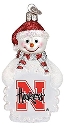 NCAA Nebraska Cornhuskers Glass Snowman Ornament