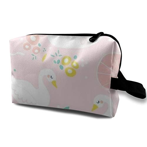 With Wristlet Cosmetic Bags White Swan Travel Portable Makeup Bag Zipper Wallet Hangbag -