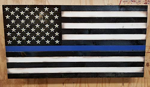 Thin Blue Line American Flag w/Shell Casings and Hidden Storage Compartment (19