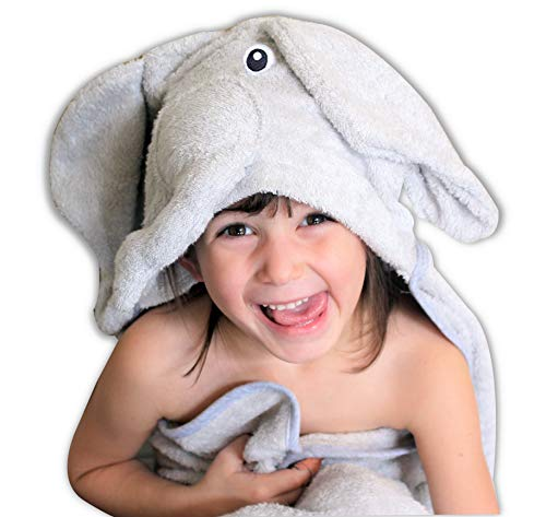 Top Rated GOTS Certified Bamboo Elephant Baby Hooded Towel & Washcloth, Boys Girls| Premium Hypoallergenic Ultra Thick & Soft with Animal Ears | Fast Dry, Extra Absorbent Toddler, Infant Baby Bath ()
