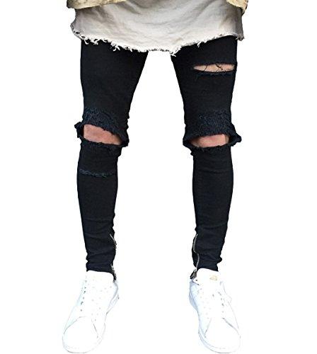 d64c34b5 Men's Knee Broken Stretch Distressed Skinny Slim Fit Ripped Zip Jeans Black  34