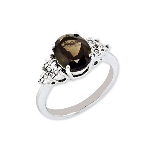 Oval Smoky Quartz & .03 Ctw (H-I, I2-I3) Diamond Ring in Sterling Silver - Size (Faceted Oval Smoky Quartz Ring)