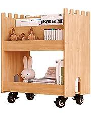 Kinderboekenrek, massief houten plank, 360 ° Roterende boekenkast, speelgoed Organiseer dozen, cultiveer kinderen leesinteresse en praktische vaardigheden (Color : Wood, Size : 62 * 37 * 69cm)