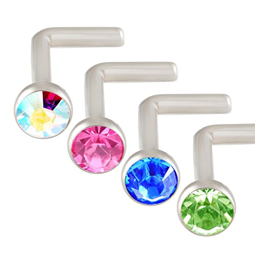 L Shaped Nose Ring 18g Surgical Stainless Steel Nostril Piercing Studs Crystal Mixed Aurora borealis Rose Sapphire Peridot