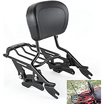 TCMT Detachable Passenger Backrest Sissy Bar With 2 Up Air Wing Luggage Rack 4 Point Docking Hardware Kits Fits For Harley Touring 2014-2019 (Black, ...