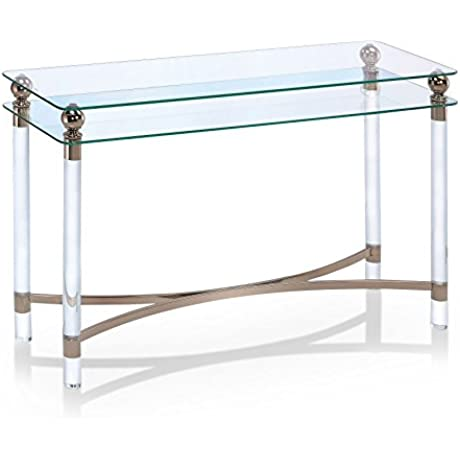 Furniture Of America Angela Contemporary Glass Gold Sofa Table