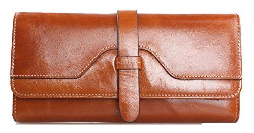 Tibes donne vera pelle portafoglio lusso borsa Cammello