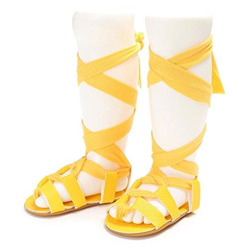 Igemy 1Paar Baby Neugeborene Bandage Cross-gebundene Sole Schuhe Mädchen Kleinkind Krippe Prewalker Gelb
