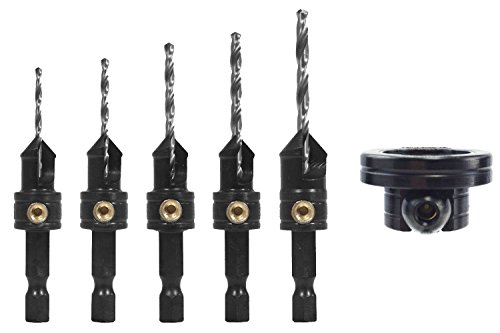 Snappy Quick-Change 5-Pc. Countersink Drill Bit Set with Rotating Depth Stop ()