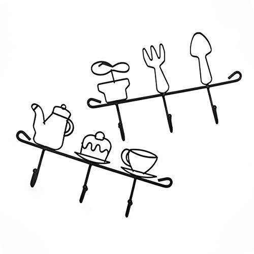 Shinydeco Cast Iron Wall Hooks Rack for Coffee Mugs/Kitchen/Home/Restaurant/Garden Tools/Coats/Keys Hanger/Cups/Hats/Bath Towel, Wall Mounted Hooks Rack, Holder for Grill Accessories 2Pcs(Black) from Shinydeco