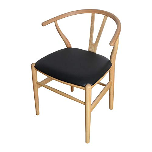 (CJC Chair Amish Dining Ash Wood Side Chair, Weathered, Wishbone Style Woven Natural Woven Cord PU Seat (Color : T16))