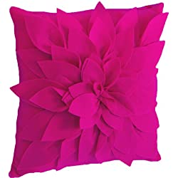 fenncostyles.com Sara's Garden Petal Decorative Throw Pillow. 17 inch Square (Fuchsia, Case Only)