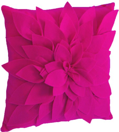 Sara's Garden Petal Decorative Throw Pillow. 17 Inch Square. (Fuchsia/Hot Pink , One Size) by fenncostyles.com