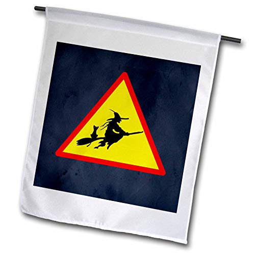 3dRose Sandy Mertens Halloween Designs - Witch Crossing with Black Cat and Broom Warning Sign, 3drsmm - 18 x 27 inch Garden Flag (fl_290246_2) ()