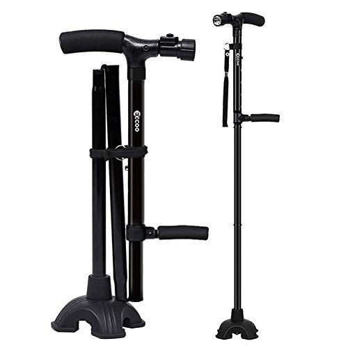Medical Convenient Two-Handle Walking Cane Lightweight Walking Stick with Adjustable LED Lights and Stable Quad Cane ()