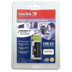SanDisk SDDR-107-A10M MobileMate MS+ USB 2.0 Mobile Card Reader/Writer Support Sandisk 1GB 2GB 4GB 8GB 16GB # Memory Stick # Memory Stick Duo # Memory Stick PRO # Memory Stick PRO Duo ()