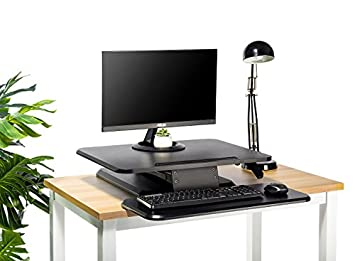 Standing Desk with Height Adjustable FEZIBO Sit to Stand Black Desk Converter, Ergonomic Desktop Workstation Riser