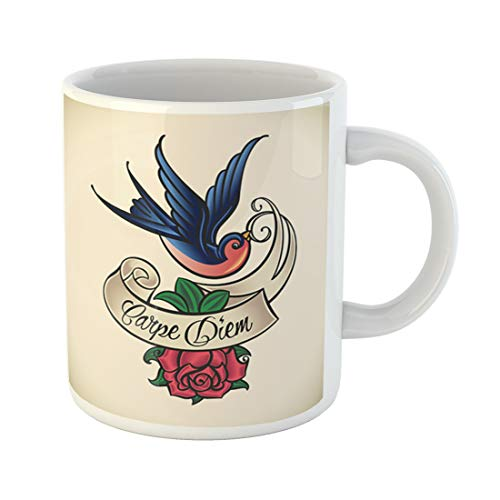 Emvency Funny Coffee Mug Red Bird Old School Styled Tattoo with Swallow and Rose Blue Sailor Jerry Ribbon 11 Oz Ceramic Coffee Mug Tea Cup Best Gift Or Souvenir