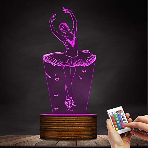 Ballerina LED Night Light USB Illuminated Night Lights Girl Room Decorative Table Lamp, Ballet Dancer