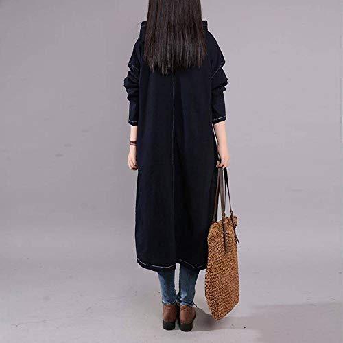 Allentato taglia Colore Di blu Unica Grandi Femminile Cappotto Stile Alla Moda Denim Dimensioni Lungo Weii Solido q7H6w