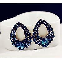 Phetmanee Shop Luxury Fashion Women Charm Drops Crystal Blue Rhinestone Stud Dangle Earrings
