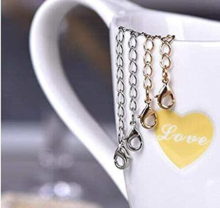 8PCS Stainless Steel Necklace Extender Chains Jewelry Length Extension Bracelet Tail Lobster Clip Clasp DIY Jewelry Making Findings with 4 Different Length for 2 3 4 6 Gold