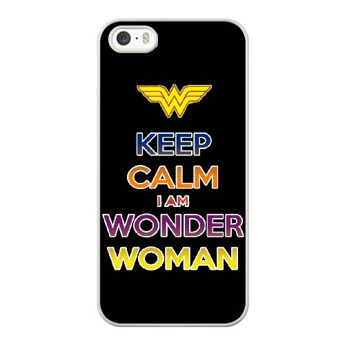 Coque,Apple Coque iphone 5/5S/SE Case Coque, Generic Keep Calm-I Am Wonder Woman Cover Case Cover for Coque iphone 5 5S SE blanc Hard Plastic Phone Case Cover