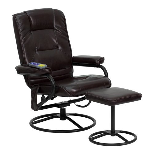 Offex OF-BT-703-MASS-BN-GG Massaging Leather Recliner and Ottoman with Metal Bases, Brown