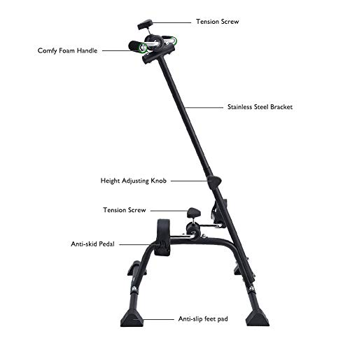 Synteam Compact Exercise Bike Arms and Legs Adjustable Fit Sit Peddler Exerciser for Elder (Black) by Synteam (Image #3)