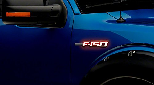 Ford Emblem Lights F150 Illuminated LED Emblems 2-Piece Kit Includes Driver & Passenger Side Fender Lighted Emblems in Black Case - F150 in White - Ford F150 Recon Led