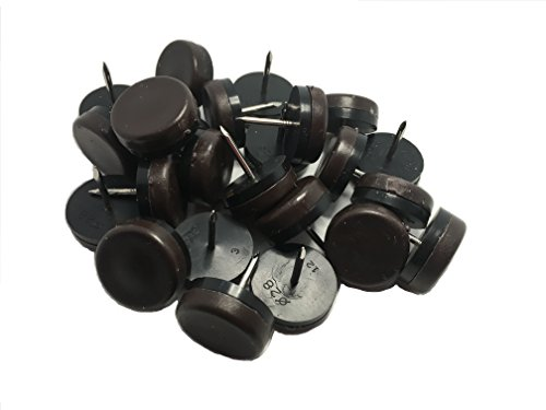 1-1/8'' DIA Heavy Duty plastic Nail-on Slider Glide Pads for Chairs, Stools, Tables-Brown 24pcs by Generic
