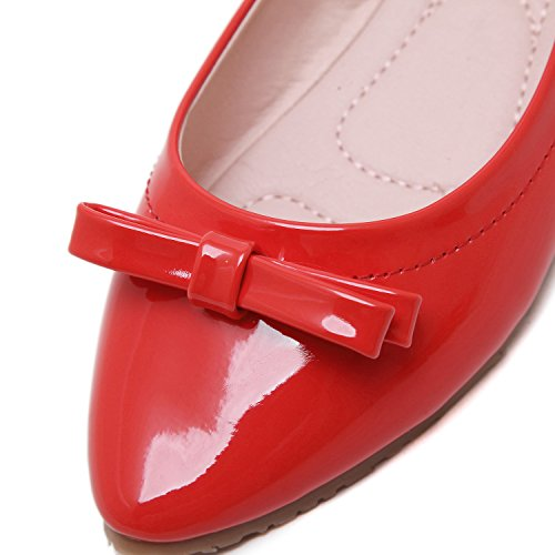DQQ On Womens Womens Bowknot Flat Pointy Bowknot Slip DQQ Shoes Pointy Red ppHrnWFq