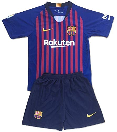 MSK-Store Youths FC Barcelona 2018-2019 Home Soccer Jersey & Shorts Set (9-10 Years Old) (Fc Barcelona Jersey Kids)