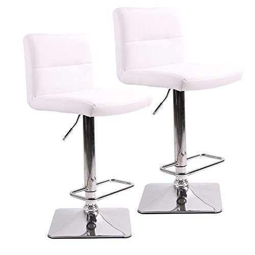 l Barstools with Chrome Base, Adjustable Counter Height Bar Stool, White PU Leather Padded with Back, Set of 2 (Bar Stool 24' Base)