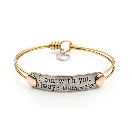 UNQJRY Friendship Inspirational Bangle Bible Verse Bracelets Vintage Brass Jewelry Gift for Christian Friends Women Men I Am with You Always