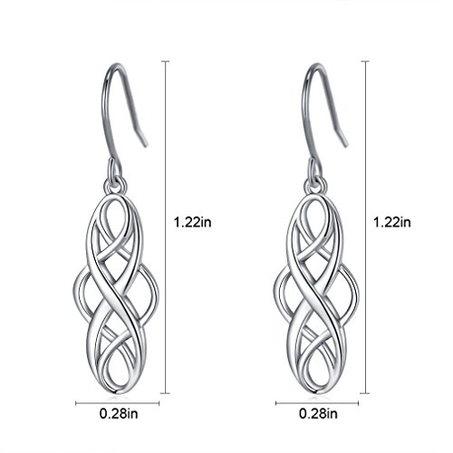 925 Silver Earrings Solid Sterling Silver Good Luck Irish Celtic Knot Vintage Dangles by LAIMALA (Image #3)