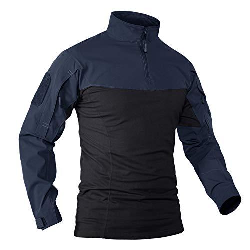 KEFITEVD T-shirt tactique pour homme avec fermeture éclair 1/4 - Avec poches sur les manches - Fermeture Velcro - Pour… 1