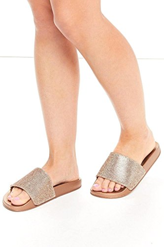 Slider Womens Sparkle Diamante Flip Flop Rubber Shoe Sliders Ladies Slip On Slippers UK Rose Gold 2jhoe94UL2