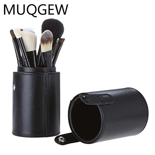 Hot,Yang-Yi Clearance Women Professional PU Pound Makeup Brushes Holder Cosmetic Brush Container Cylinder Vessel (Black, 2.8 7.1