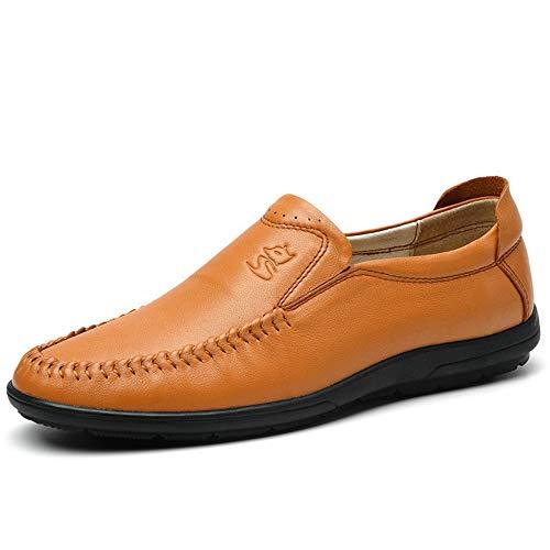 Cuero de de Marrón Zapatos Blanda Ocasionales Hombres Suela U conducción Genuino Gran de Zapatos de Tip tamaño para qtRzwvU