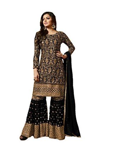 ziya Indian Wear & Ethnic Wear Long Straight Salwar Black Salwar Kameez 117 (S-38) by ziya