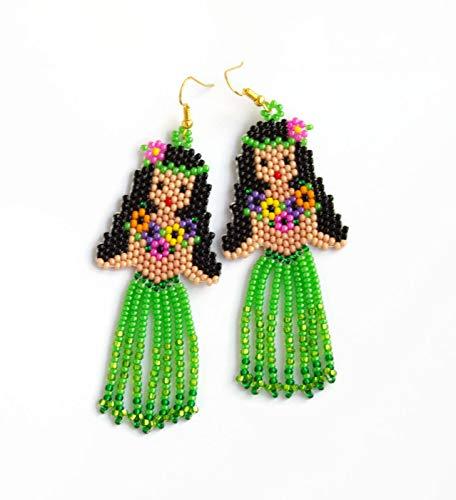 41c9aa3e2 Beaded Dangle Earrings Hula jewelry Handmade Native American Style Beaded  Doll Funny earrings Beach Jewelry Summer fringe Czech glass beads Modern  Fashion