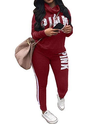 Womens 2 Piece Sweatshirt Cowl Neck Letter Print Stretchy Tracksuit Set Red S