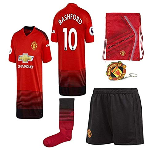 aa65ddc40c4 LISIMKE Soccer Team 2018 19 Manchester United Home M. Rashford 10 Mens  Replica Shorts Kid Youth Replica Jersey Kit