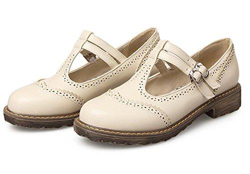 Easemax Femmes Douce Bout Rond Boucle Sangle Bas Talons Pompes Chaussures Beige