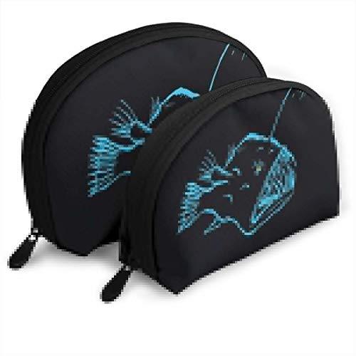 (Zimubbic Anglerfish Monkfish Portable Cosmetic Bag,Toiletry Bag,Mini Travel Cosmetic Bag,Portable Waterproof Makeup Pouch Tote Organizer Bag for Women Girls)