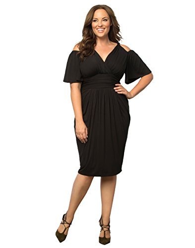 Kiyonna Women's Plus Size Tantalizing Twist Dress 4X Black Noir
