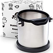 HOME DEPT Espresso knock box and coffee grind dump container. Stainless steel. Large shock-absorbent knock bar for easy coffee ground disposal. Silicone cover to protect the filter and kitchen
